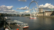 Stock Video Footage of London Eye Millennium Wheel above the River Thames Westminster London