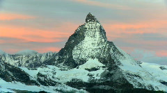 Time-lapse of the Matterhorn at sunrise - stock footage