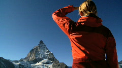 Woman in the mountains, Switzerland - stock footage