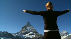 Woman in the mountains, Switzerland Stock Footage