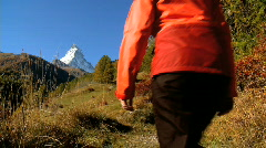 Hiking towards the Matterhorn Stock Footage
