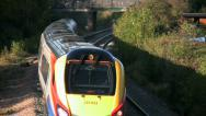 Stock Video Footage of East Midlands Trains passenger train in Leicestershire England.
