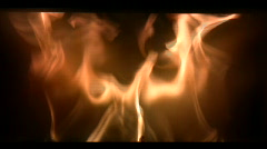 Flames flickering inside a woodburning stove Stock Footage
