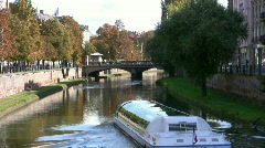Touris boat in Strasbourg Stock Footage