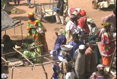 Looking down at the Djenne market  Stock Footage