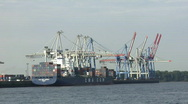 Stock Video Footage of Hamburg Container Harbour - boat shot