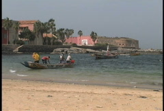 Fishing boats Goree Island Stock Footage