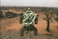 Offerings on a fetish and tree in Africa Stock Footage