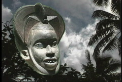 African art Mask with clouds  Stock Footage