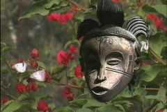 African art Mask with flowers  Stock Footage