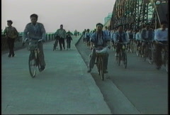 China 1992 Commuters on bicycles - stock footage