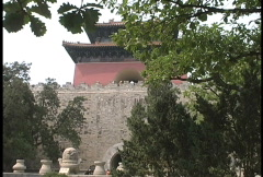 Wall and pagoda Ming Tomb Stock Footage