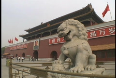 Lion at Tiananmen Gate Stock Footage