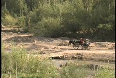 Horse drawn cart Turpan Stock Footage