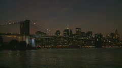 pan shot brooklyn bridge night wide - stock footage