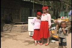 Friendly children in Western China Stock Footage