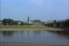 East Germany 1990 Dresden across Elbe river Stock Footage