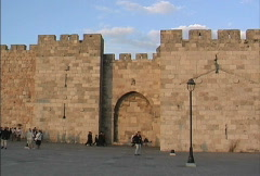 City walls and Jaffa gate Jerusalem Stock Footage