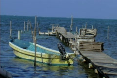 Small boat on a dock Stock Footage