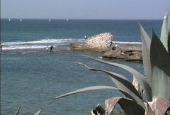 Mediterranean Sea at Caesarea Stock Footage