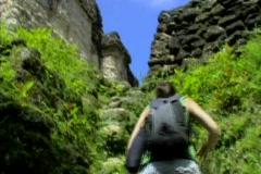Tikal girl climbing stones Stock Footage
