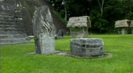 Tikal stone and well Stock Footage