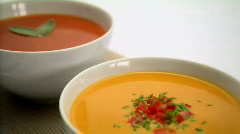 Tomato and squash soup Stock Footage