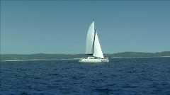 catamaran boat to boat - stock footage