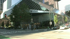 Central Library building in Seattle Washington Stock Footage