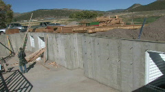 Basement walls construction pan M HD Stock Footage