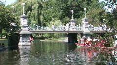 Boston Public Gardens Swan Boats Stock Footage