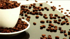 Coffee cup & Beans Stock Footage