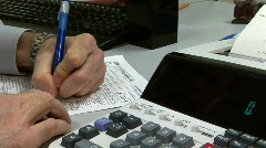 Filling out the tax form Stock Footage