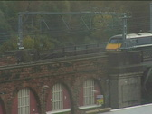 High speed train enters Newcastle Stock Footage