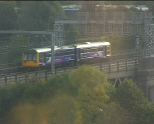 Local train in Newcastle North East Uk Stock Footage