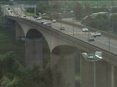 Traffic crosses bridge in north of UK 01 Stock Footage