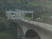 Traffic crosses bridge in north of UK 02 Stock Footage