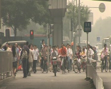Bycicles polluted beijing pekin Stock Footage
