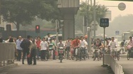 Stock Video Footage of bycicles polluted beijing pekin