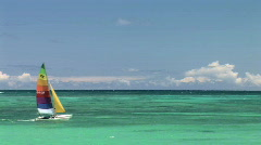 Sailing - Colorful Sailboat in Tropical Pacific Ocean Hawaii - stock footage