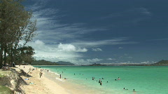 People Swimming at Kailua Beach in Hawaii, tropical vacation - time lapse - stock footage