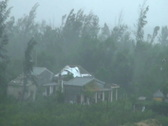 Strong Hurricane Winds Damage House Stock Footage