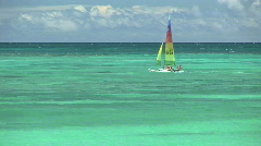 Colorful Sailboat in Turquoise Tropical Waters of Hawaii Stock Footage