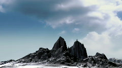 Black mountain with time lapse clouds Stock Footage