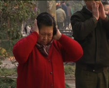 Old people morning exercise in China Stock Footage