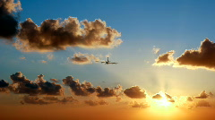 Sunset airliner  Stock Footage