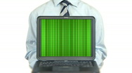 Stock Video Footage of Businessman holding a laptop with opening theater green curtains