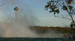 Niagara Falls Morning Spray Mist And Skylon Tower Niagara Falls Canada Stock Footage