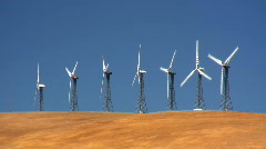 Seven wind turbines Stock Footage