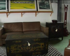 Restored Chinese antique furniture Stock Footage